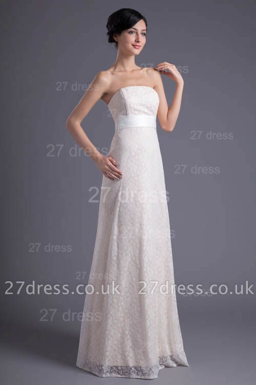 Sexy White Strapless A-line Evening Dress UK Lace Zipper