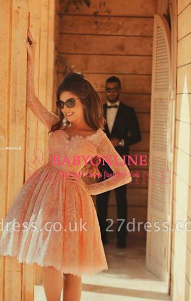 Lovely Long Lace Prom Dress UK Sleeves Little V-neck Short