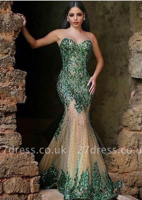 Gorgeous Sleeveless Mermaid Prom Dress UKes UK Appliques Beadings Women's Party Gown MH0