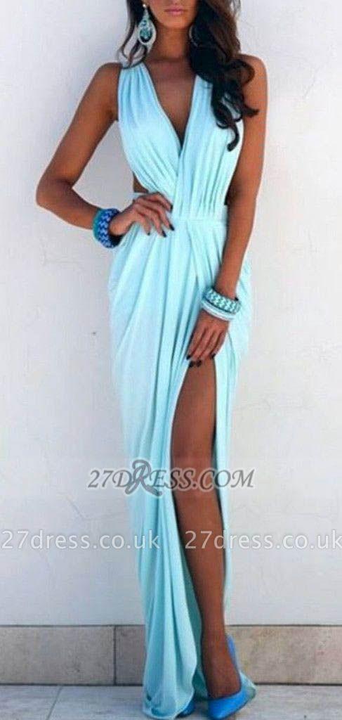 Elegant V-neck Sleeveless Long Prom Dress UK With Front Split