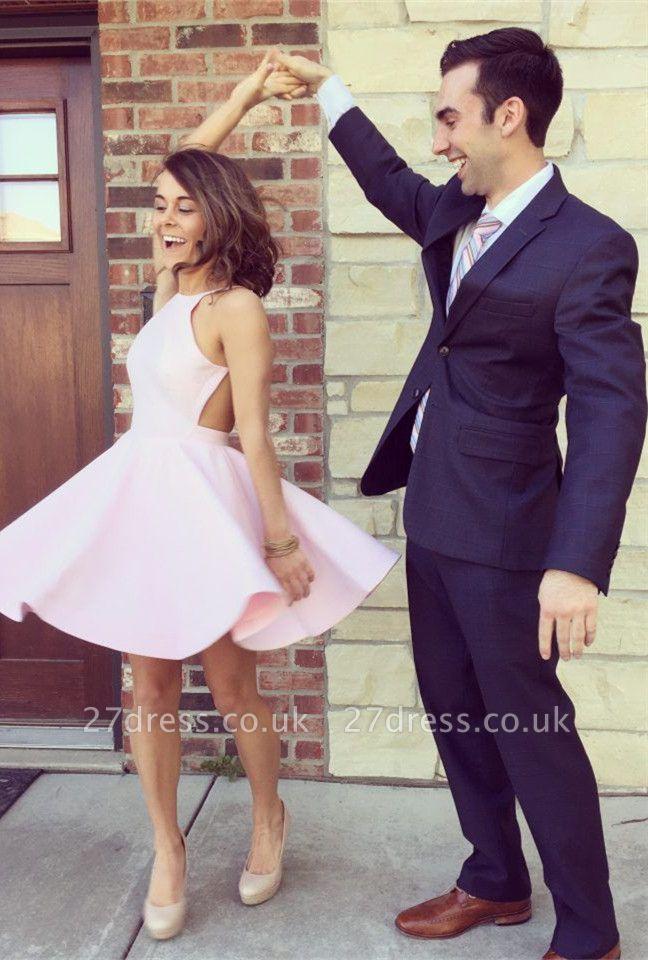 Modest Pink Jewel Mini Homecoming Dress UK Sleeveless Open Back