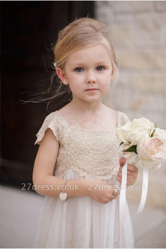 Newest Chiffon A-line Lace Appliques Flower Girl Dress Cap Sleeve