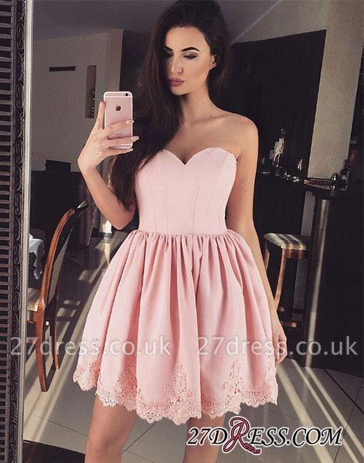 Cute Pink Sweetheart-neck Short Lace Homecoming Dress UK