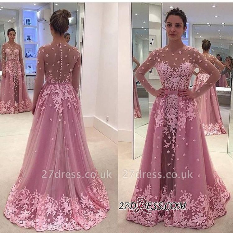Pink Overskirt Long-Sleeves Sheer Lace-Appliques Prom Dress UKes UK