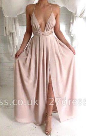 Elegant V-neck Spaghetti Strap Prom Dress UK With Front Split