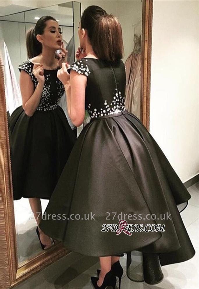 Crystal Black Zipper Sequined Tea-Length A-Line Prom Dress UKes UK