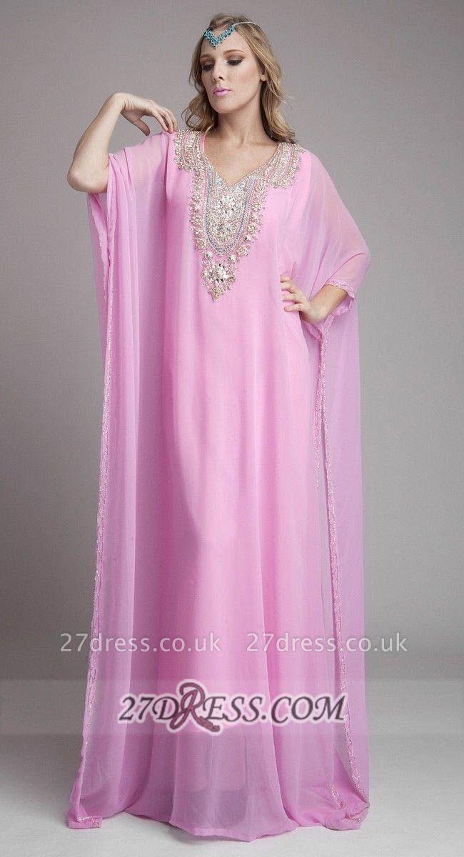 Sexy Long Sleeve Chiffon Arab Evening Dress UK With Beadings Crystals Floor-length