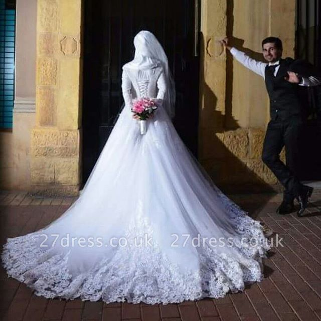 Chic White Tulle Lace Appliques Arabic Wedding Dress Lace-up Long Sleeve