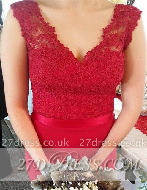 Red V-Neck Lace Bridesmaid Dress UKes UK Sweep Train Prom Gowns with Bottons