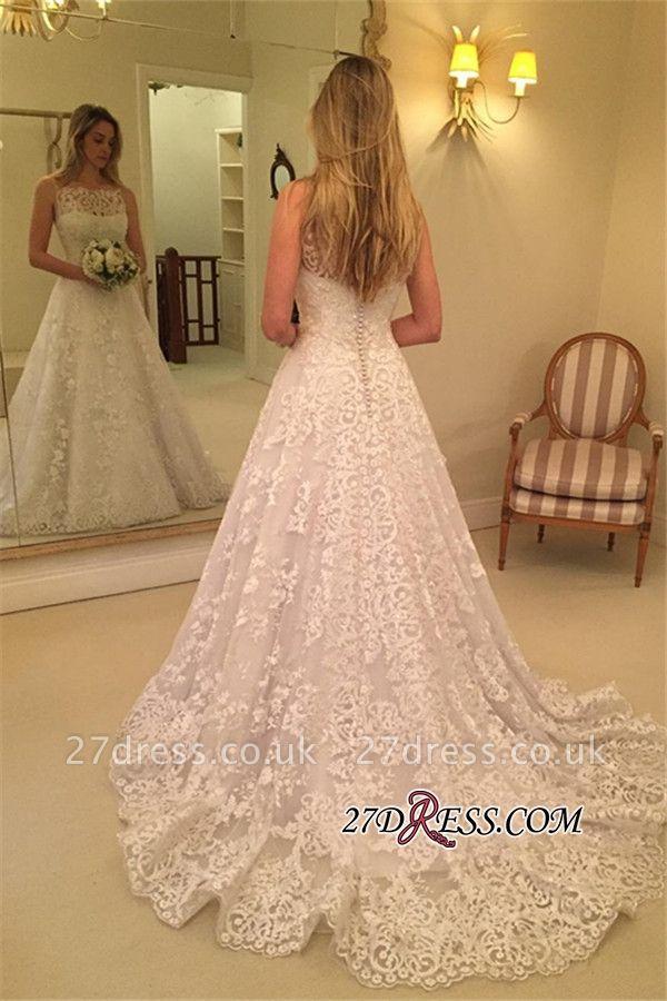 Lace Spaghetti-Straps Buttons Sweep-Train Sleeveless Wedding Dress