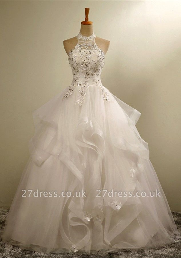 Modern High Neck Lace Appliques Beads Sleeveless Wedding Dress