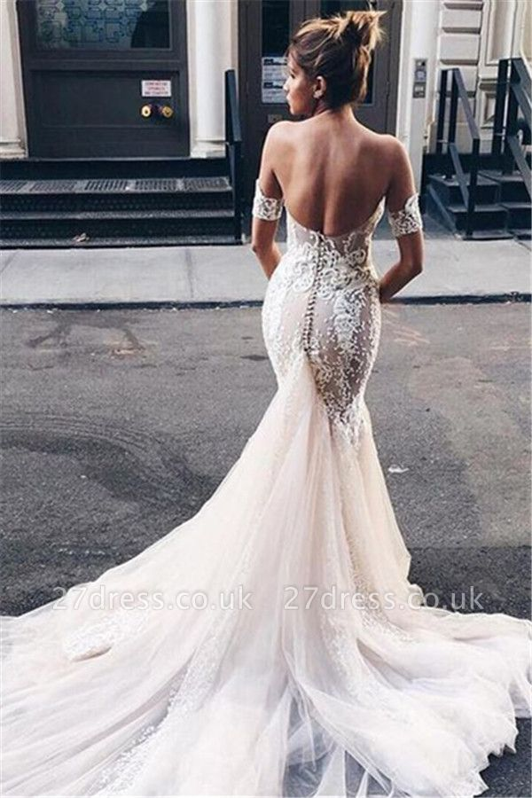 Strapless Sexy Mermaid Bride Dress Open Back Sweetheart Wedding Dress with Long Tulle Train