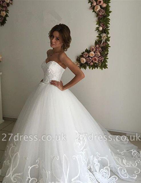 Designer Sweetheart Lace Wedding Dress Tulle Lace-up
