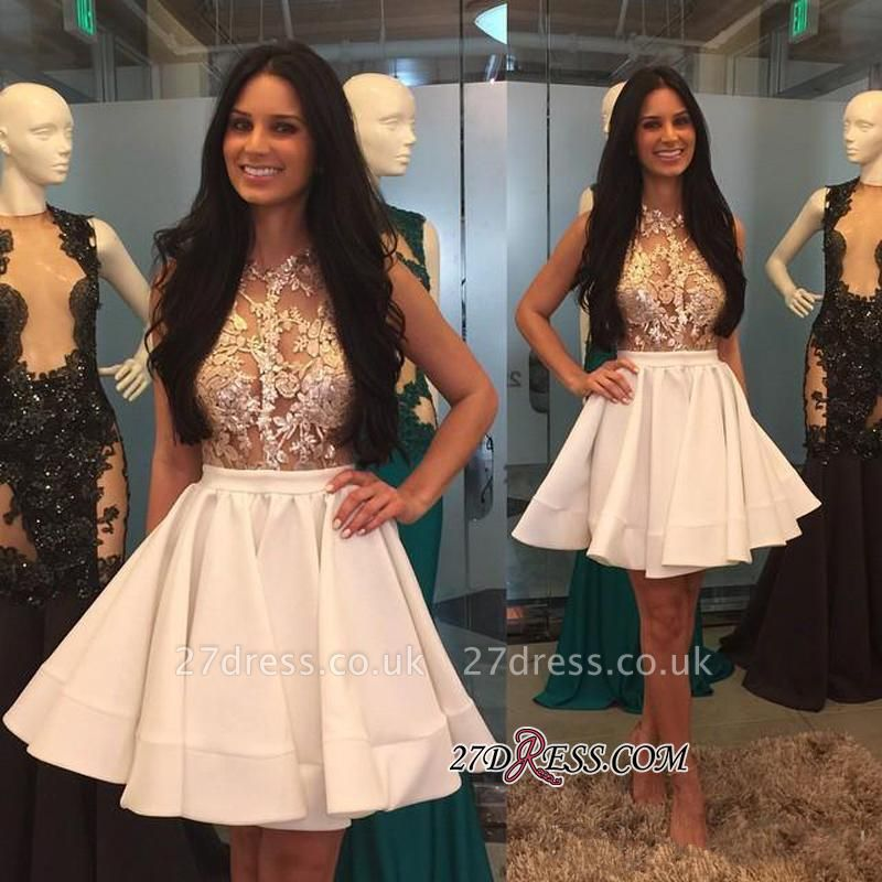 Mini Appliques High-Neck Lace Sheer Puffy-Skirt Pretty Homecoming Dress UKes UK