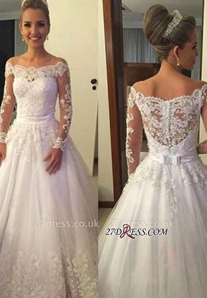 A-line Lace Long-Sleeves Off-the-shoulder Sweep-train Bow Wedding Dress