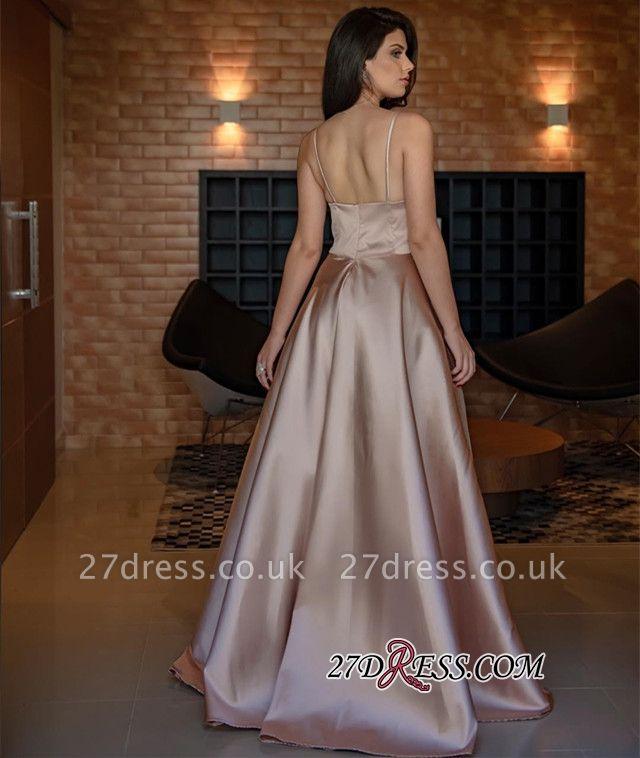 V-Neck Spaghetti-Straps Evening Dress UK | Sleeveless Simple Prom Dress UK