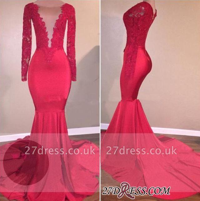 Elegant Lace-Appliques Long-Sleeve Mermaid Red Prom Dress UK BA5300