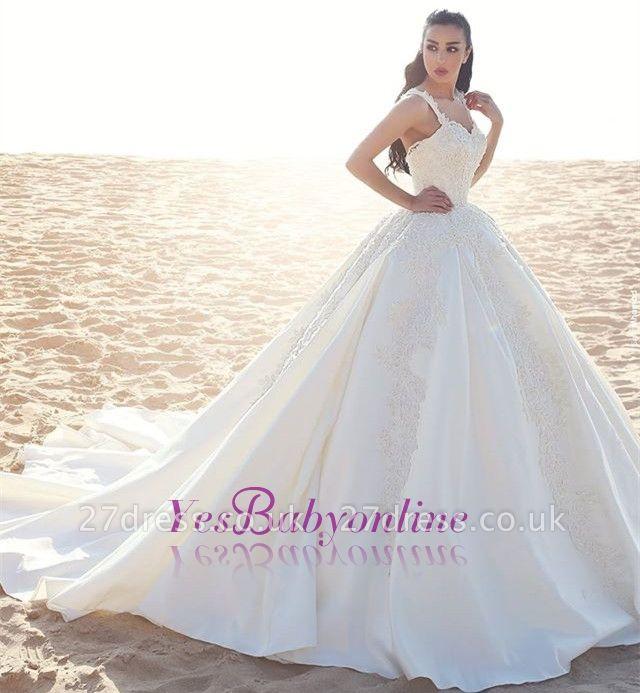Appliques Straps Satin Ball Elegant Sleeveless Wedding Dress