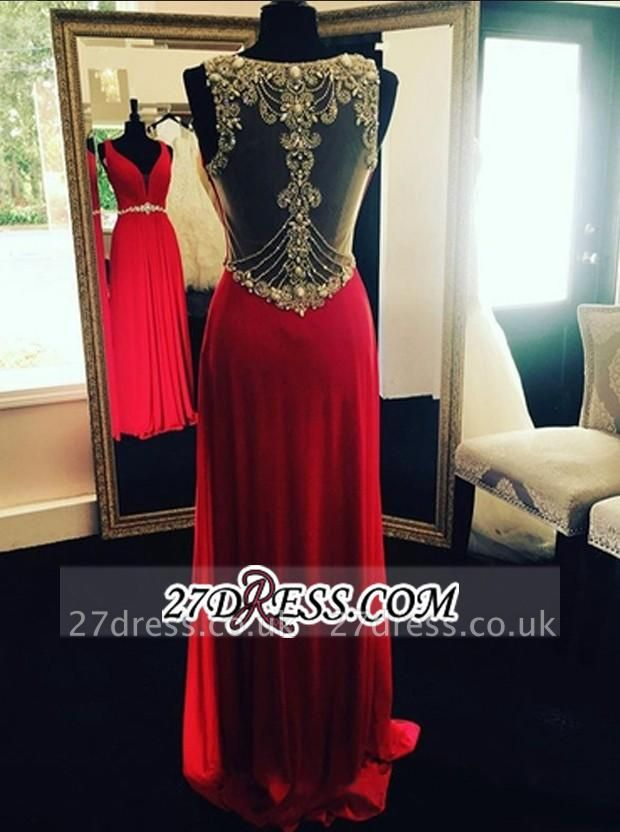Beading Sleeveless Crystal Long Natural Prom Dress UKes UK BA3951