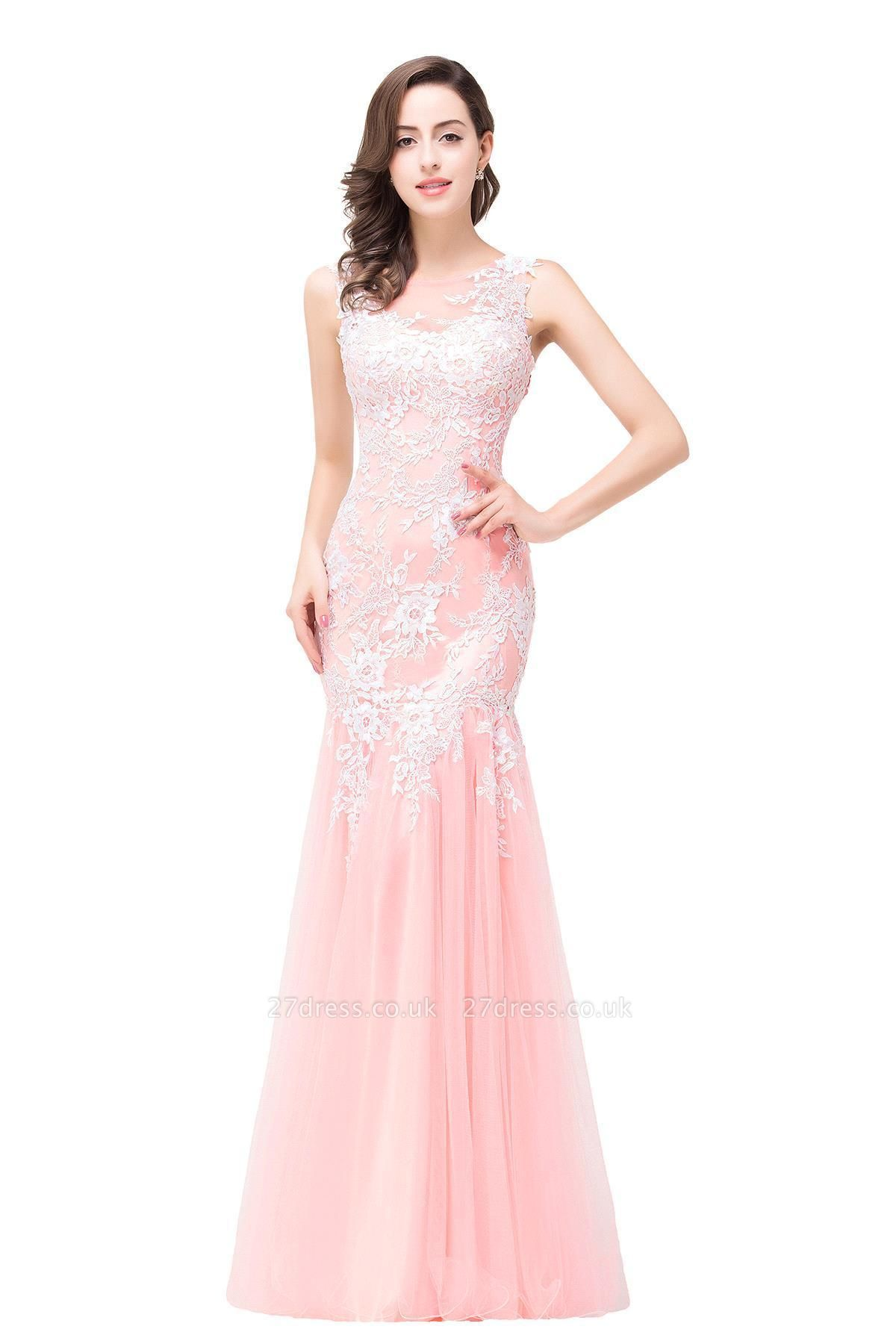Sexy Pink Mermaid Prom Dress UK Straps Floor-length