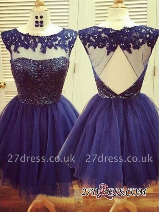 Capped-Sleeves Short Navy-Blue Homecoming Dress UKes UK