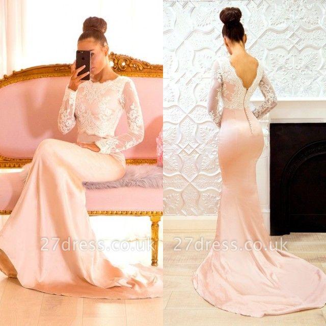 Long-Sleeve Lace Bridesmaid Dress UK   Mermaid Long Formal Wear