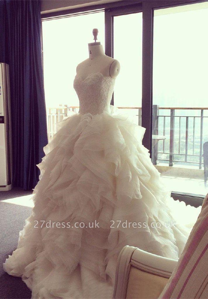 Elegant Ruffles Appliques Beadss Tulle Wedding Dress Spaghetti Strap