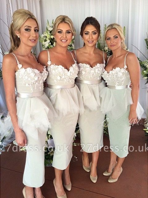 Delicate Appliques Mermaid Bridesmaid Dress UK Spaghetti Strap Ruffles