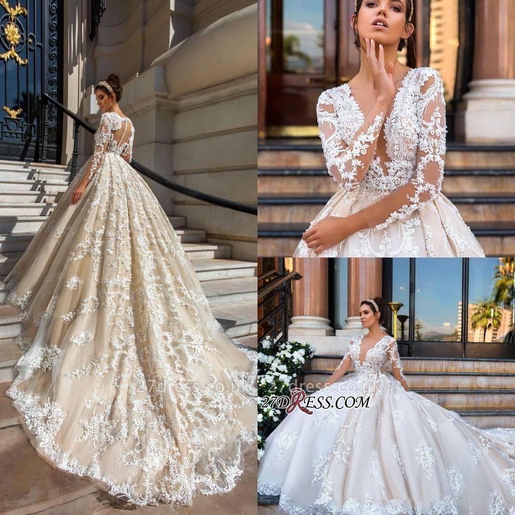 Court-Train Elegant Lace Long-Sleeve Princess Wedding Dress