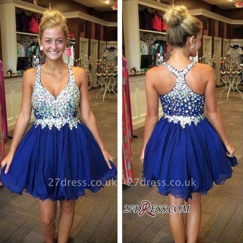 Short Chiffon Sparkly Popular Sleeveless Rhinestone Royal-Blue Homecoming Dress UKes UK BA3806