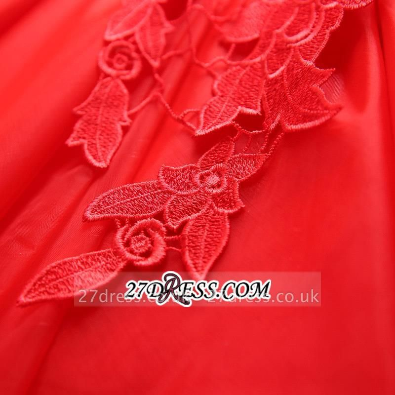 Short Elegant Cap-Sleeve Lace Red Tulle Homecoming Dress UK