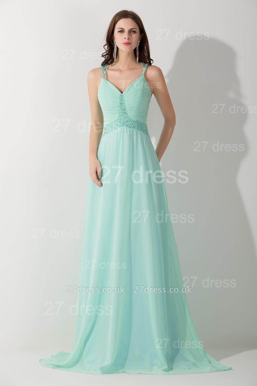 High Quality Chiffon A-line Evening Dress UK Straps Floor-length