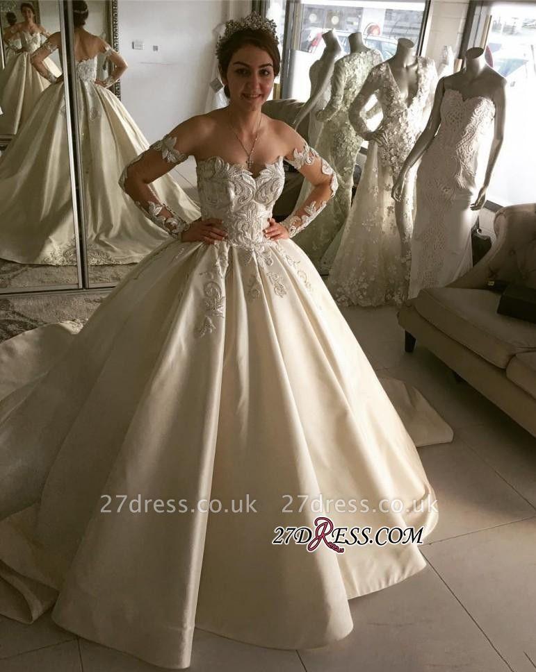 Long sleeve lace wedding dress,princess bridal gowns