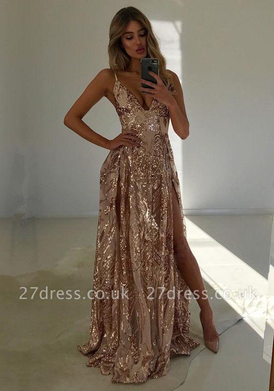 Luxury V-Neck Sequins Evening Dress UK | 2019 Prom Dress UK With Slit