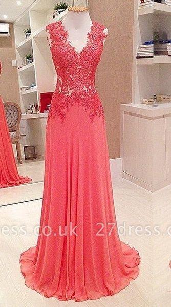 Sexy V-Neck Sleeveless Lace Appliques Evening Dress UK Long Chiffon Floor Length