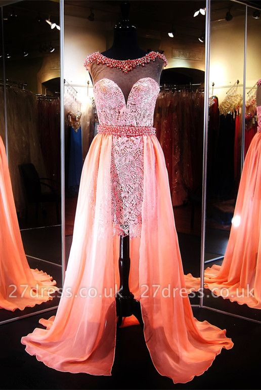 Luxury Hi-Lo Lace Illusion Evening Dress UK Beading Sleeveless
