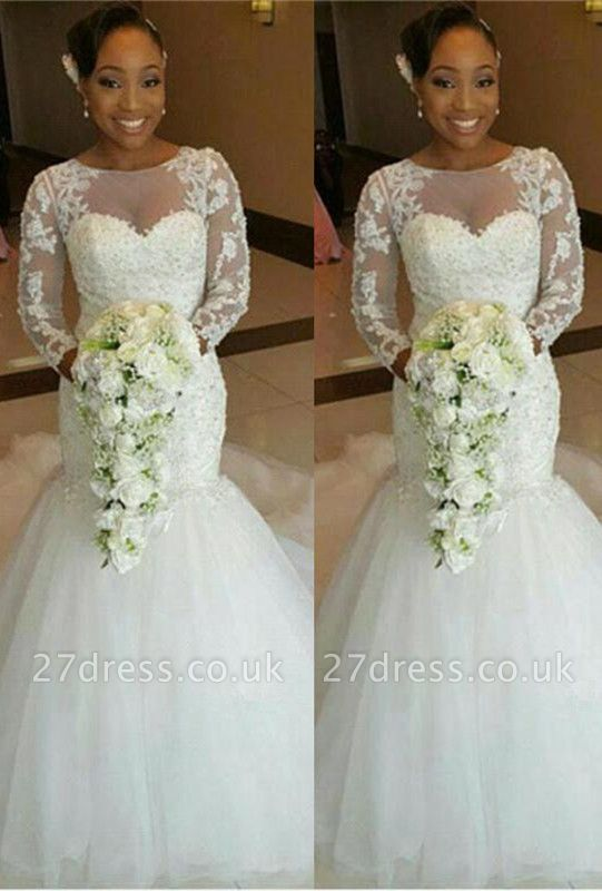 Newest Lace Appliques Sexy Mermaid Wedding Dress Long Sleeve Tulle