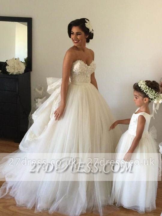 Elegant Sweetheart Tulle Wedding Dresses UK Tiered Lace Bridal Gowns