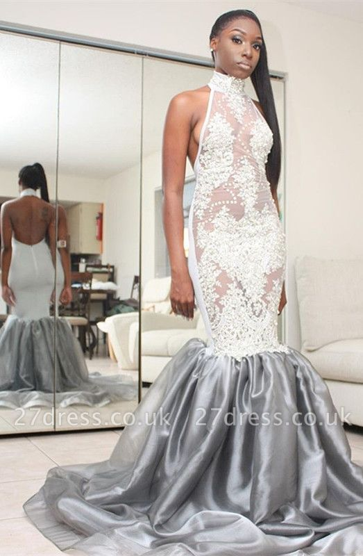 Halter Lace Prom Dress UK   Mermaid Backless Evening Gowns
