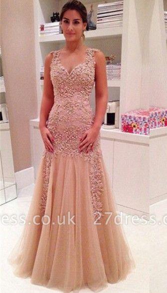 Delicate Lace Appliques Mermaid Prom Dress UK Zipper Straps Sleeveless