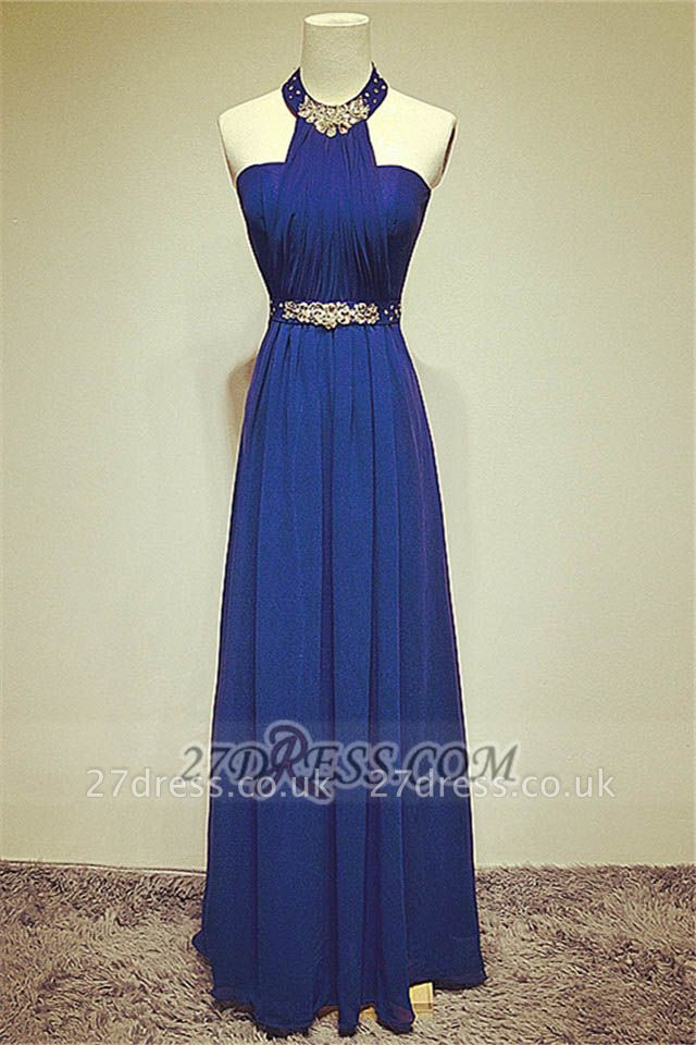 Sexy High Neck Long Chiffon Evening Dress UKes UK Beadings Crystals Prom Gowns