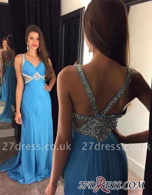Elegant Blue Chiffon Sleeveless Crystal Long Prom Dress UKes UK AP0