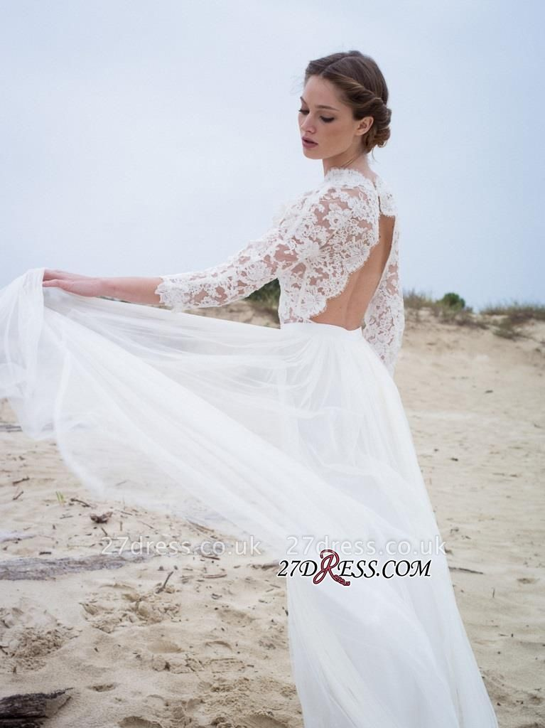 Simple A-line V-neck Long-Sleeves Lace Modern Wedding Dress