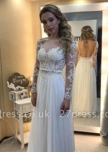 Backless Chic Long-Sleeves A-line Floor-length Lace Simple Wedding Dress