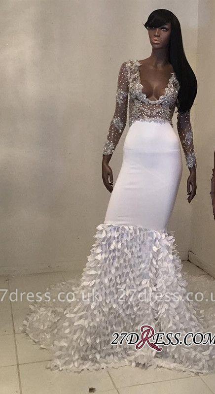 White long sleeve prom Dress UK, v-neck mermaid evening party Dress UK BK0 BA8157