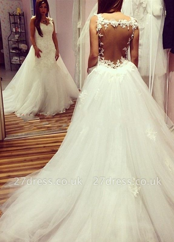 Elegant  Sexy Mermaid Backless Wedding Dresses UK Lace Appliques With Detachable Train