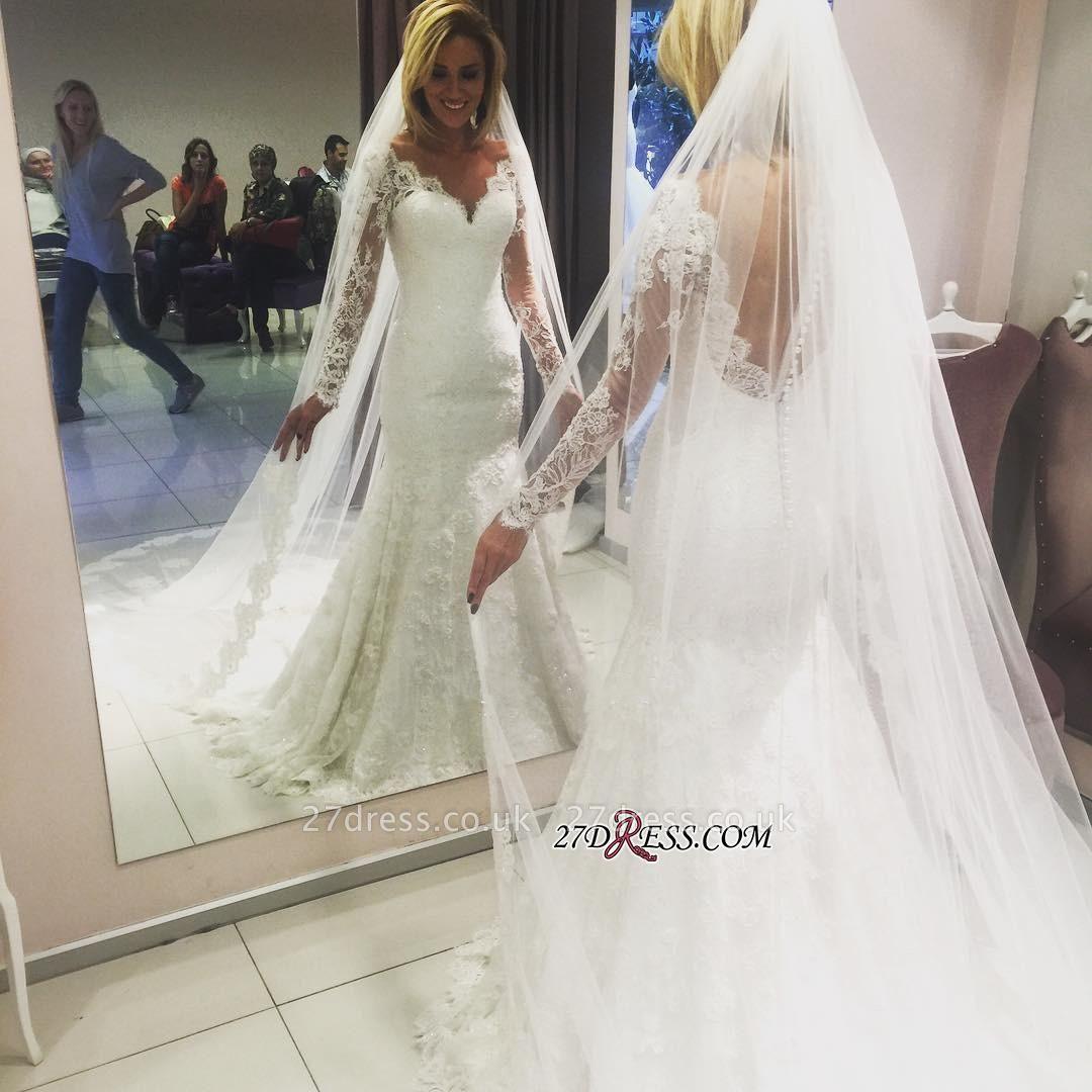 Long-Sleeve Elegant Lace Sexy Mermaid Wedding Dress