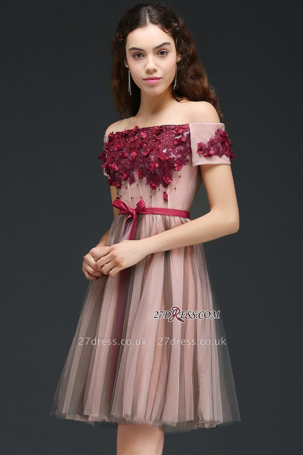 Knee-Length Burgundy-Flowers Off-the-Shoulder Short-Sleeves Homecoming Dress UKes UK