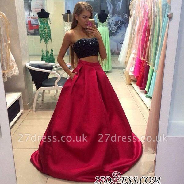 Two-Piece Strapless Sleeveless A-line Modest Prom Dress UK