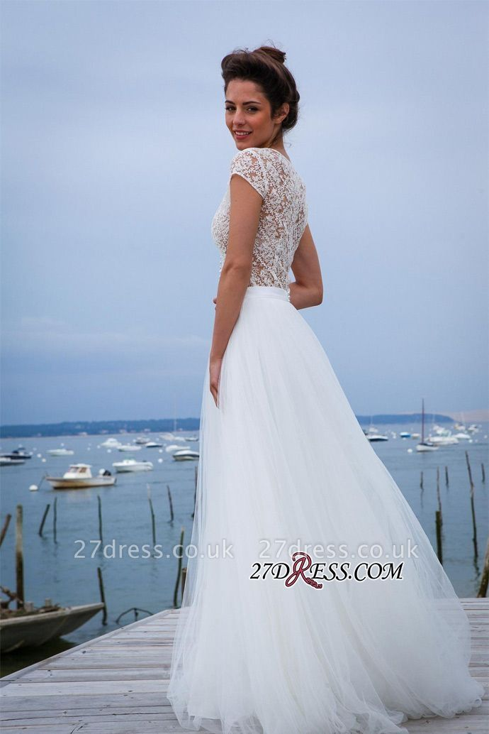 Tulle Simple Short-Sleeves A-line V-neck Chic Wedding Dress